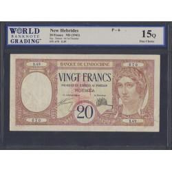 Новые Гибриды 20 франков 1941 год (New Hebrides 20 Francs 1941) P 6: Choice VF 15