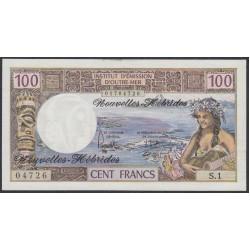 Новые Гибриды 100 франков 1975 год (New Hebrides 20 Francs 1975) P 18c: aUNC
