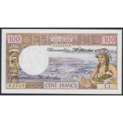 Новые Гибриды 100 франков 1975 год (New Hebrides 100 Francs 1975) P 18d: UNC