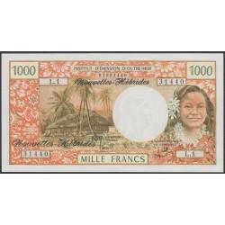 Новые Гибриды 1000 франков 1975 год (New Hebrides 1000 Francs 1975) P 20b: UNC