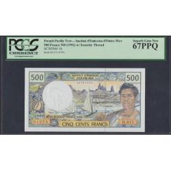 Французские Тихоокеанские Территории 500 франков 1992 года (French Pacific Territories 500 Francs 1992) P 1b: UNC 67!!!!!