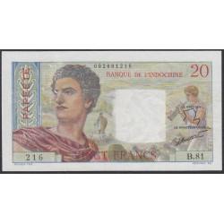 Таити 20 франков 1951-63 года (Tahiti 20 Francs 1951-63) P 21c: XF/aUNC