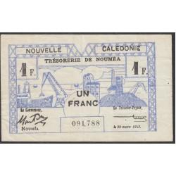 Новая Каледония 1 франк 1943 года (New Caledonia 1 Franc 1943) P 55b: VF/XF