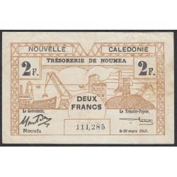 Новая Каледония 2 франка 1943 года (New Caledonia 2 Francs 1943) P 56b: VF/XF