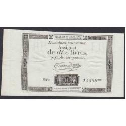 Франция ассигнация на 10 ливров 1792 года (France 10 Livres 1792) PA66b: UNC
