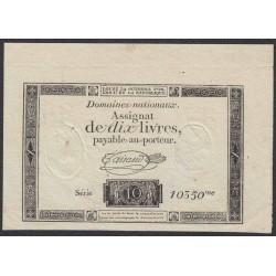 Франция ассигнация на 10 ливров 1792 года (France 10 Livres 1792) PA66b: UNC-/UNC