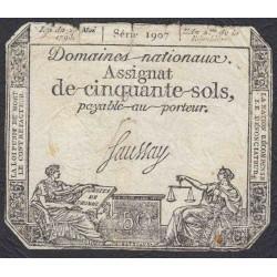 Франция ассигнация на 50 cолей 1793 года (France 50 Sols 1793) PA70b: VG
