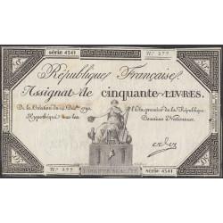 Франция ассигнация на 50 ливров 1792 года (France 50 Livres 1792) PA72: VF/XF