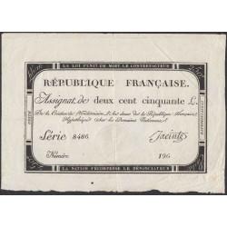 Франция ассигнация на 250 ливров 1793 года, вариант 2 (France 250 Livres 1793) PA75: VF/XF
