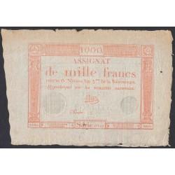 Франция ассигнация на 1000 Франков 1795 года, редкий сохран без обрезки (France 1000 Francs 1795) PA80: VF