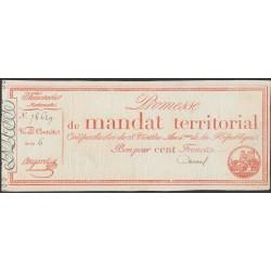 Франция территориальный мандат на 100 Франков 1796 года (France 100 Francs 1796) PA84b: VF/XF