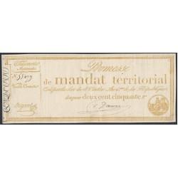 Франция территориальный мандат на 250 Франков 1796 года (France 250 Francs 1796) PA85a: XF