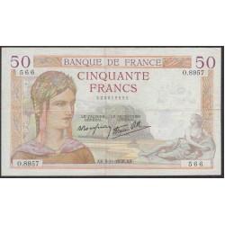 Франция  50 Франков 1938 года (France 50 Francs 1938) P 85b: VF