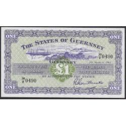 Гуренси 1 фунт 1962 года (GUERNSEY 1 pound 1962) P43b: XF/aUNC