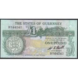 Гуренси 1 фунт 1980-89 года (GUERNSEY 1 pound 1980-89) P48a: UNC