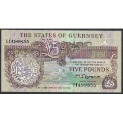 Гуренси 5 фунтов 1990-95 года (GUERNSEY 5 pounds 1990-95) P 53a: UNC