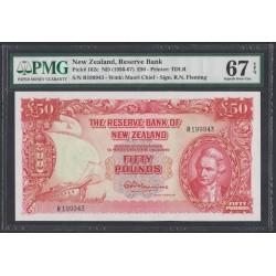 Новая Зеландия 50 фунтов 1956-1967 годы, РЕДКОСТЬ!!! (New Zealand 50 Pounds 1956-1967) P 161d: UNC 67!!!!!!