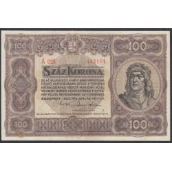 Венгрия 100 корон 1920 года (Hungary 100 korona 1920) P 63: XF/aUNC
