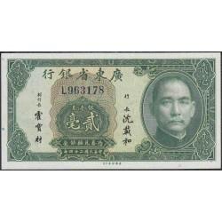 Китай Квантуньский провициальный банк 20 центов 1935 год (China The Kwantung provincial bank 20 cents 1935 year) P S2437a:Unc