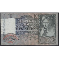 Нидерланды 10 гульденов 1942 года (NETHERLANDS 10 Gulden Nederlandsche Bank 1942) P 56b: XF