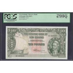Новая Зеландия 10 фунтов 1960-1967 годы (New Zealand 10 Pounds 1960-1967) P 161d: UNC 67!!!!! TOP GRADE!!!!!