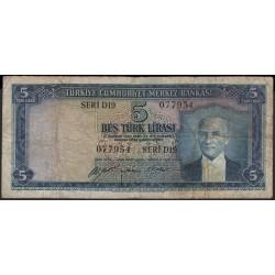 Турция 5 лир 1930 год (Turkey 5 lira 1930 year) P 154 : F