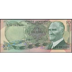 Турция 10 лир 1970 (1975) год (Turkey 10 lira 1970 (1975) year) P 186 : Unc