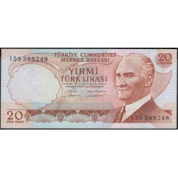 Турция 20 лир 1970 (1974) год (Turkey 20 lira 1970 (1974) year) P 187b : Unc