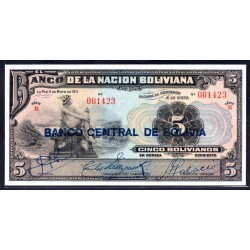 Боливия 5 боливиано 1929 г. (BOLIVIA 5 bolivianos 1929 g.) P113:Unc