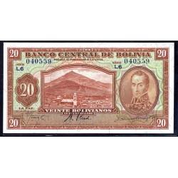Боливия 20 боливиано 1928 г. (BOLIVIA 20 Bolivianos 1928) P131:Unc