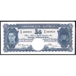 Австралия 5 фунтов ND (1939-1952 г.) (AUSTRALIA  5 Pounds ND (1939-1952)) P27с:aUnc