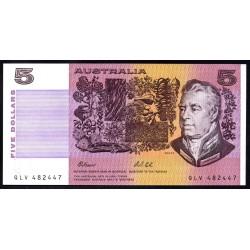 Австралия 5 долларов ND (1974-1991 г.) (AUSTRALIA 5 Dollars ND (1974-1991)) P44g:Unc