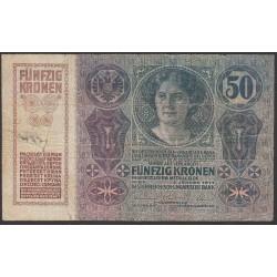Австрия 50 крон 1914 года (Austria 50 kronen 1914 year) P 15 : Fine/XF