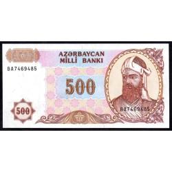 Азербайджан 500 манат ND (1993 г.) (AZERBAIJAN 500 Manat ND (1993)) P19b:Unc