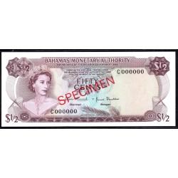 Багамские Острова 50 центов 1968 г. (BAHAMAS 50 Cents L. 1968) P26s:Unc - SPECIMEN