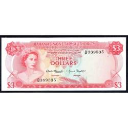 Багамские Острова 3 доллара 1968 г. (BAHAMAS 3 Dollars  L. 1968) P28:Unc