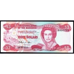 Багамские Острова 3 доллара L. 1974 (1984) г. (BAHAMAS 3 Dollars L. 1974 (1984)) P44а:Unc