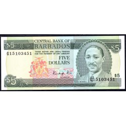 Барбадос 5 долларов ND (1986 г.) (BARBADOS 5 Dollars ND (1986)) P37:Unc