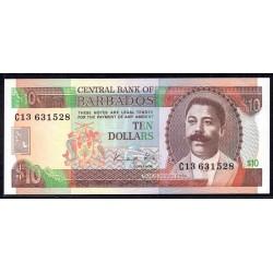 Барбадос 10 долларов ND (1986 г.) (BARBADOS 10 Dollars ND (1986)) P38:Unc