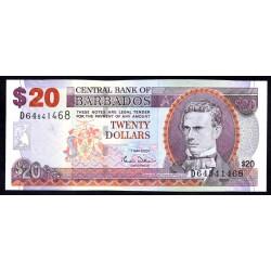 Барбадос 20 долларов 2007 г. (BARBADOS 20 Dollars 2007) P69а:Unc