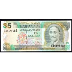 Барбадос 5 долларов 2007 г. (BARBADOS 5 Dollars 2007) P67а:Unc