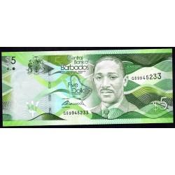 Барбадос 5 долларов 2013 г. (BARBADOS 5 Dollars 2013) P74а:Unc