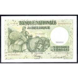 Бельгия 50 франков / 10 белгас 1945 г. (BELGIUM 50 Francs / Frank = 10 Belgas / Belga 1945) P106:Unc