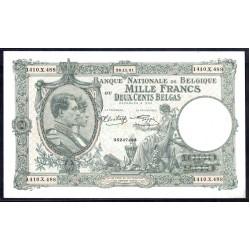 Бельгия 1000 франков / 200 белгас 1941 г. (BELGIUM 1000 Francs / Frank = 200 Belgas / Belga 1941) P110:Unc