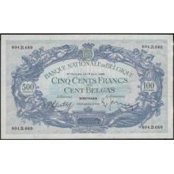 Бельгия 500 франков / 100 белгас 1939 г. (Belgium 500 Frank / 100 Belgas 1939 year) P109:Unc
