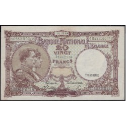 Бельгия 20 франков 1944 г. (BELGIUM 20 Francs / Frank 1944) P116:XF