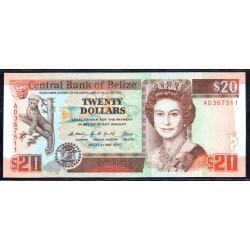 Белиз 20 долларов 1990 г. (BELIZE 20 dollars 1990 g.) P55:Unc
