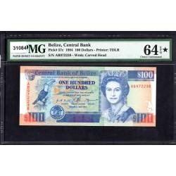 Белиз 100 долларов 1994 г. (BELIZE 100 dollars 1994 g.) P57с:64 greid slab