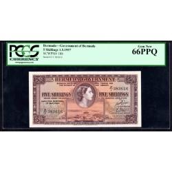 Бермудские Острова 5 шиллингов 1957 г. (BERMUDA 5 Shillings 1957) P18b:66 greid slab