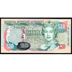 Бермудские Острова 20 долларов 2000  г. (BERMUDA 20 Dollars 2000) P53:Unc